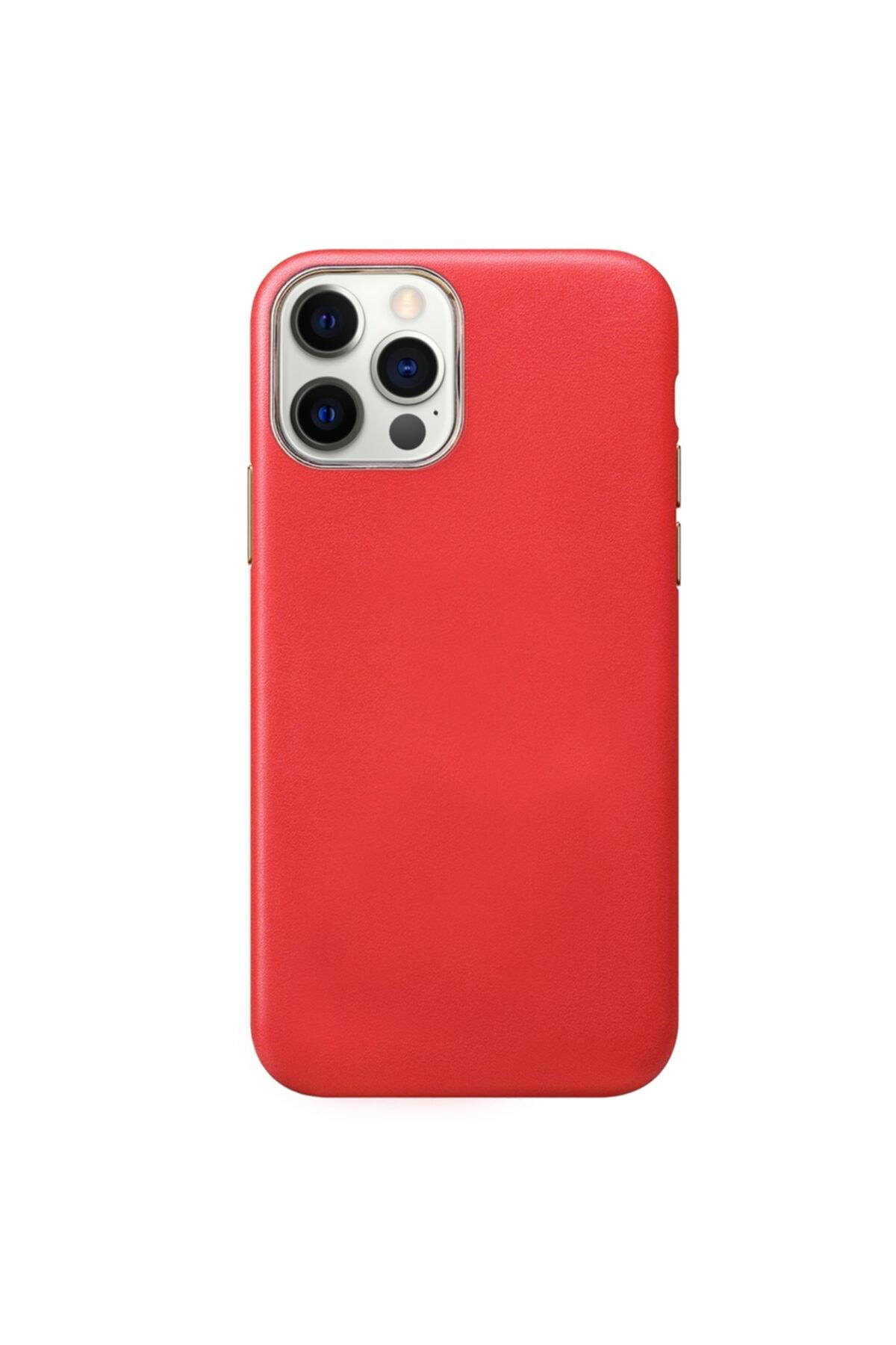Microsonic Apple Iphone 12 Pro Max Kılıf Luxury Leather Kırmızı 2