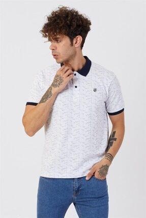 Jack Morino Erkek Beyaz Polo Yaka Nakışlı Desenli Kısa Kol T-shirt