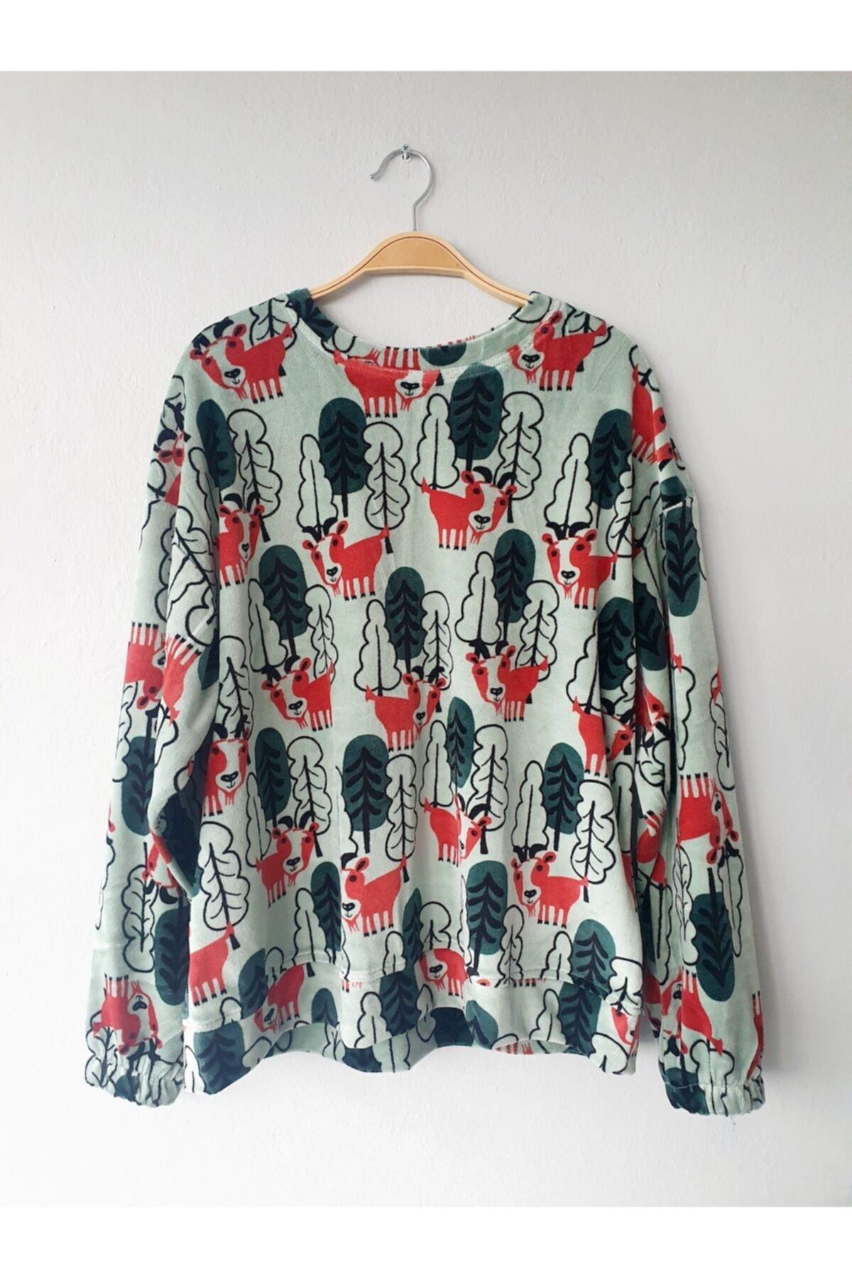 Gogoandy Yeşil Kadife Sweatshirt 1