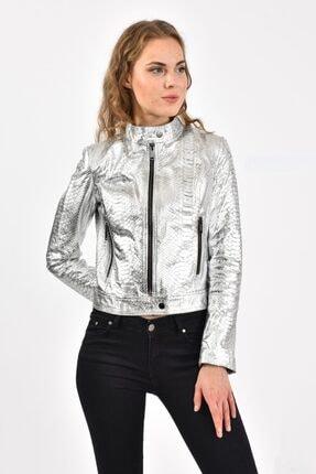 leatherasia Kadın Gümüş Piton Deri Ceket
