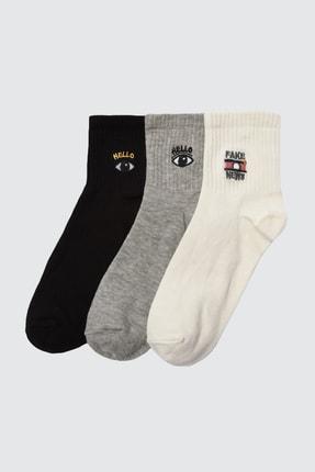 TRENDYOLMİLLA 3'lü Çok Renkli Örme Çorap TWOAW21CO0101
