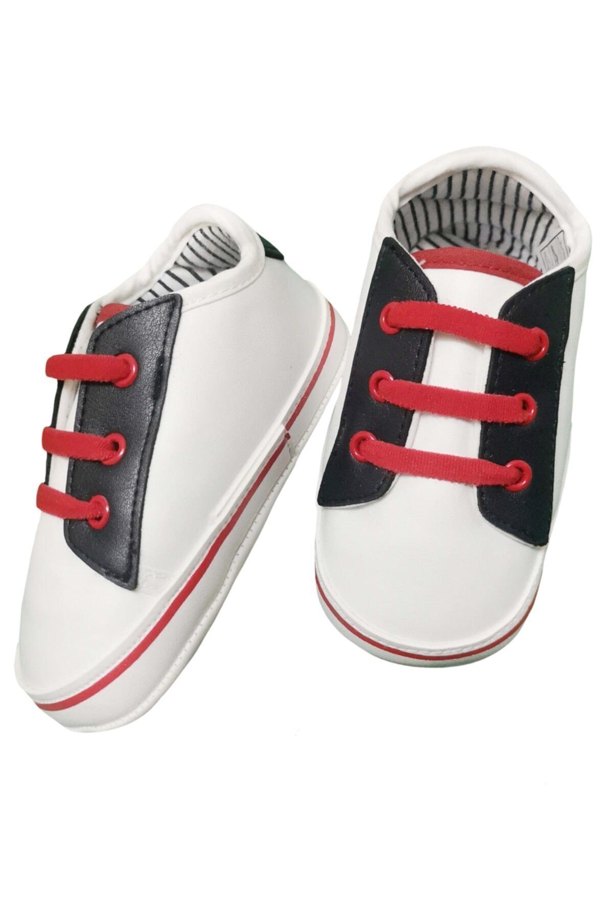 Funny Baby Unisex Bebek Kırmızı Premium Bağcıklı Suni Deri Patik Ayakkabı 1