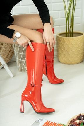 Salim Ayakkabı Kadın Kırmızı Rugan Topuklu Çizme
