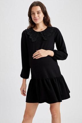 DeFacto Kadın Siyah Volanlı Etek Detaylı Hamile Elbisesi