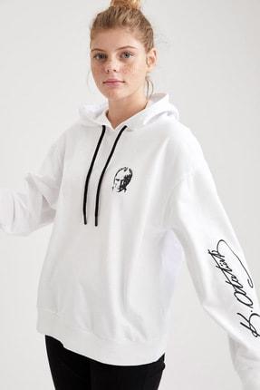 DeFacto Kadın Beyaz Atatürk Özel Tasarım Relax Fit Sweatshirt