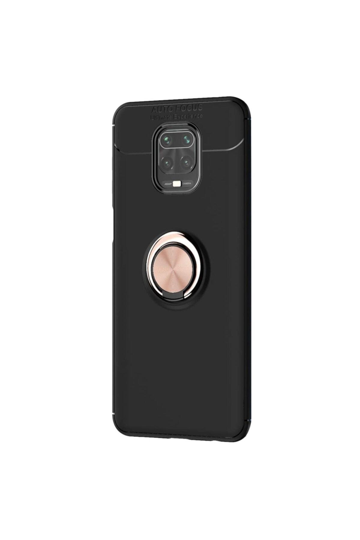 Microsonic Microsonic Redmi Note 9 Pro Kılıf Kickstand Ring Holder Siyah Rose 2