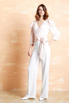 SERPİL Kadın Pudra Kruvaze Bağcıklı Bluz 32700