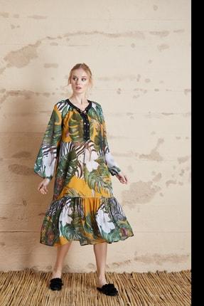 SERPİL Kadın Sarı Yaprak Desenli Elbise 32148