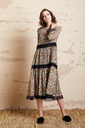 SERPİL Kadın Mor Çiçek Desenli Dantelli Elbise 32509