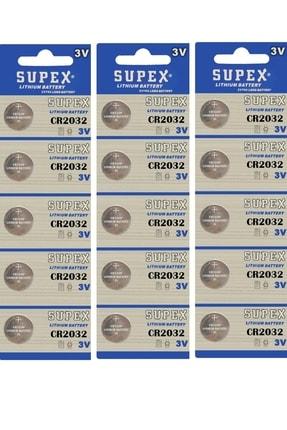 Supex 15 Adet 3 Volt Cr2032 Lityum Para Pil (dl2032 Bios-kepenk-kumanda Taerazi Düğme Lithum Pili)