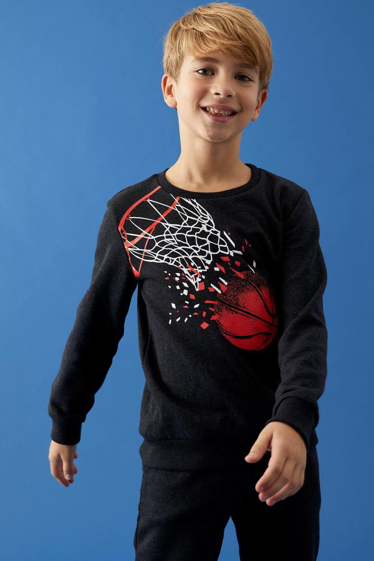 DeFacto Erkek Çocuk Baskılı Sweatshirt Ve Jogger Eşofman Alt Takım 1