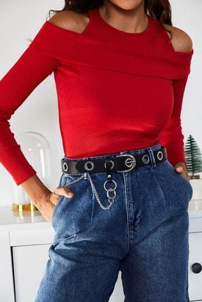 XENA Kadın Kırmızı Omuz Detaylı Kaşkorse Bluz 1KZK2-10999-04