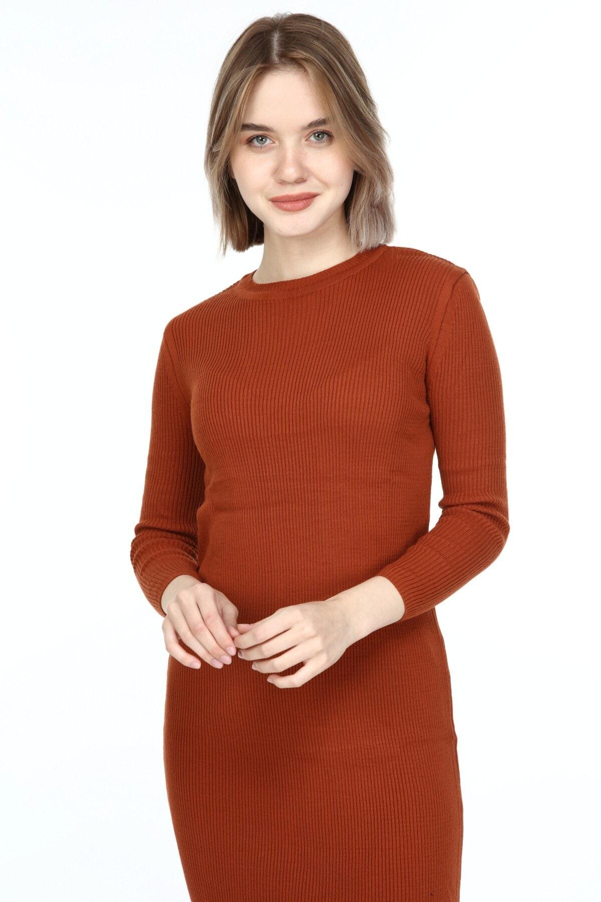 Manga Kadın Triko Elbise Kiremit 2