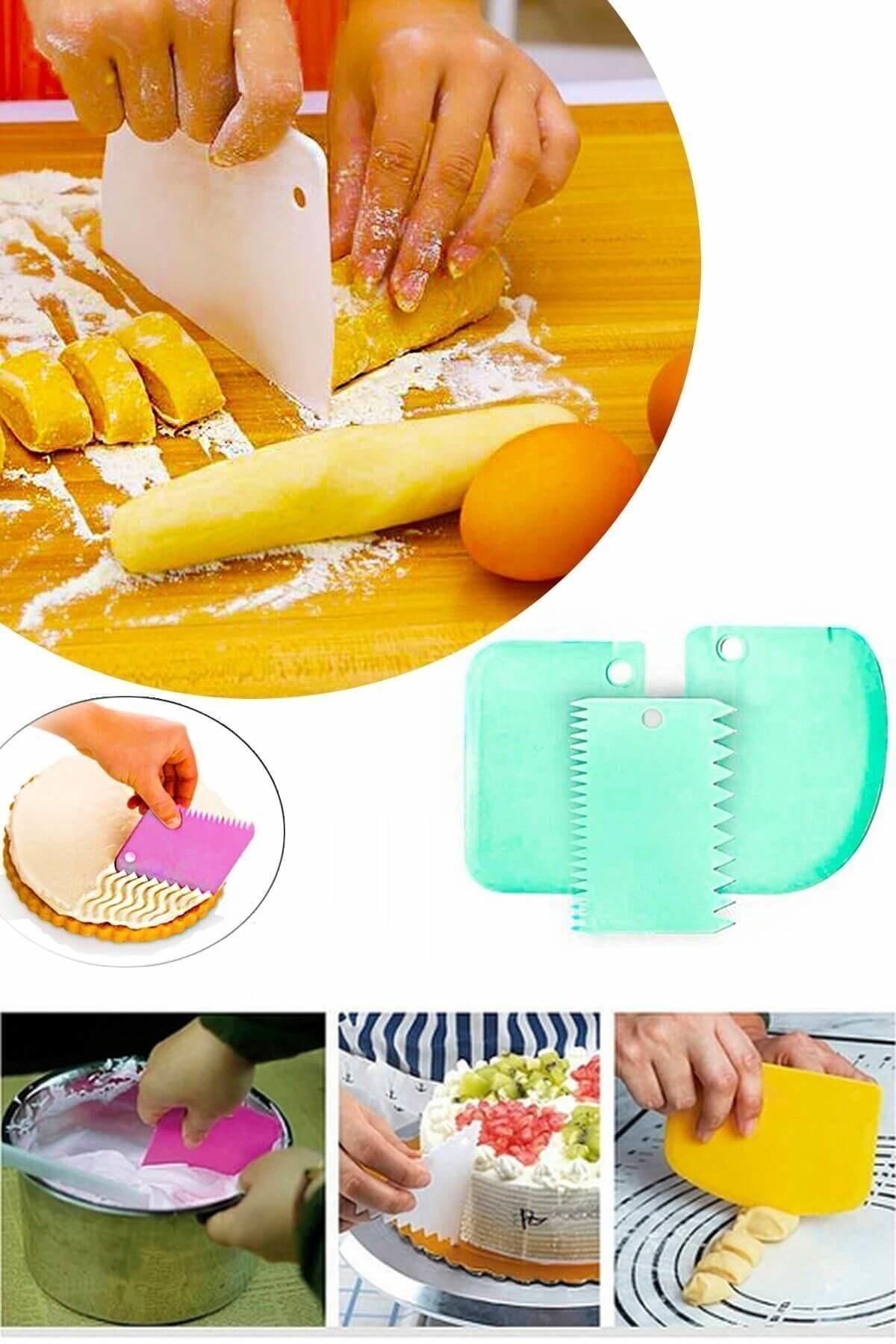 RoseRoi Pasta Hamur Şekillendirici Kesici Kazıyıcı Dekoratör Spatula Set 3 Parça 1