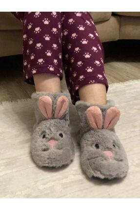 HYBC Kadın Gri Tavşan Modelli Panduf