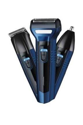 caddeoutlet 3'lü Set Saç Sakal Kesme Traş Makinesi Burun Kılı Alma 3in1 Pro Model Erkek Bakım Seti