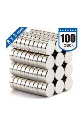 Dünya Magnet 100 Adet 8mm X 3mm Yuvarlak Güçlü Neodyum Mıknatıs Magnet(100'lü Paket)