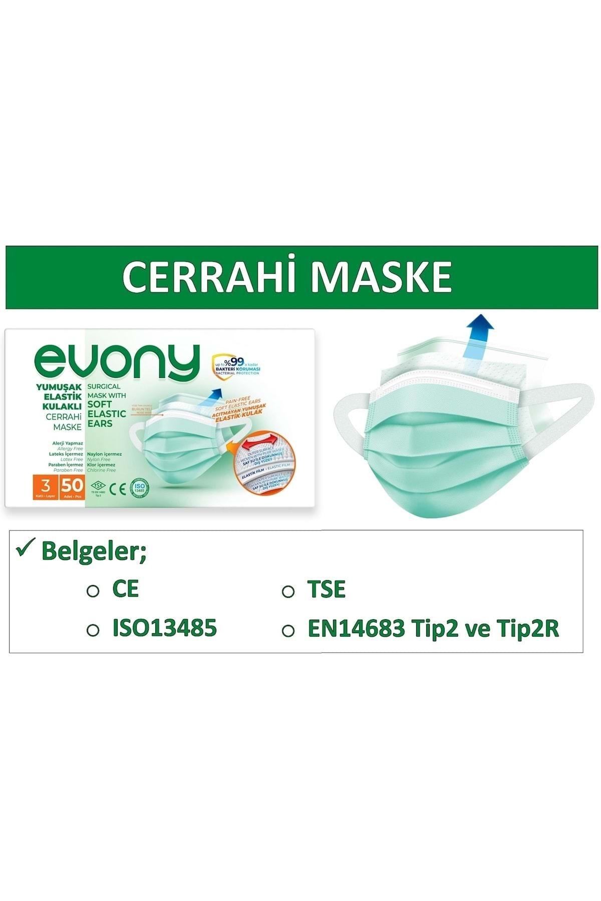 Evony 3 Katlı Filtreli Burun Telli Cerrahi Maske 50'li Paket -Yumuşak Elastik Kulaklı 2