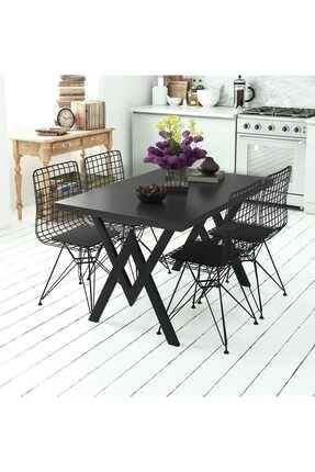 Evdemo Siyah Parla 4 Sandalyeli Mutfak Masası