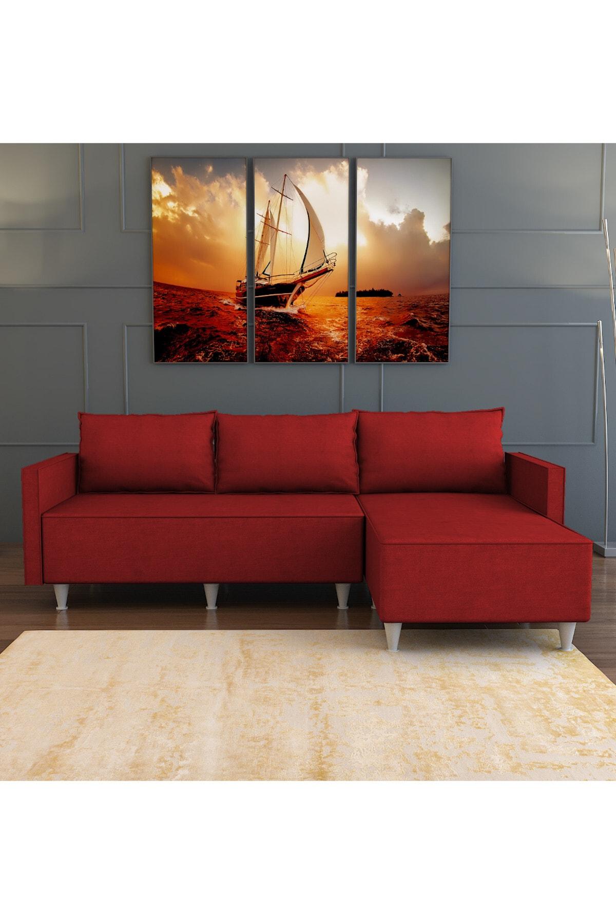 Evdemo Kırmızı Aybüke Köşe Koltuk 1