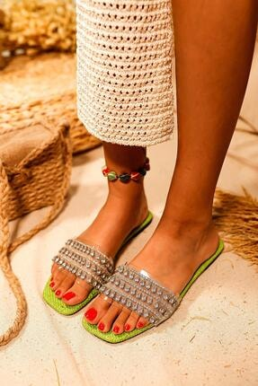 Limoya Kadın Yeşil Şeffaf Bantlı Taş Detaylı Terlik