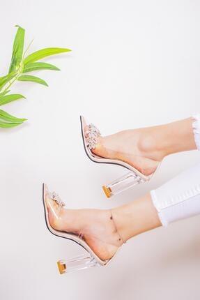 Limoya Kadın Şeffaf Taşlı Kenarlı Şeffaf Topuklu Stiletto