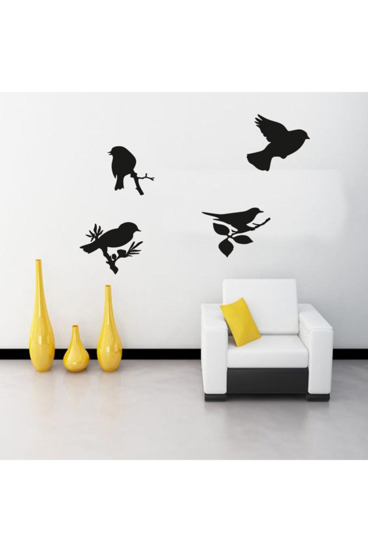 HYL Daldaki Kuşlar Duvar Süsü Dekoratif Ahşap Lazer Kesim Siyah 2