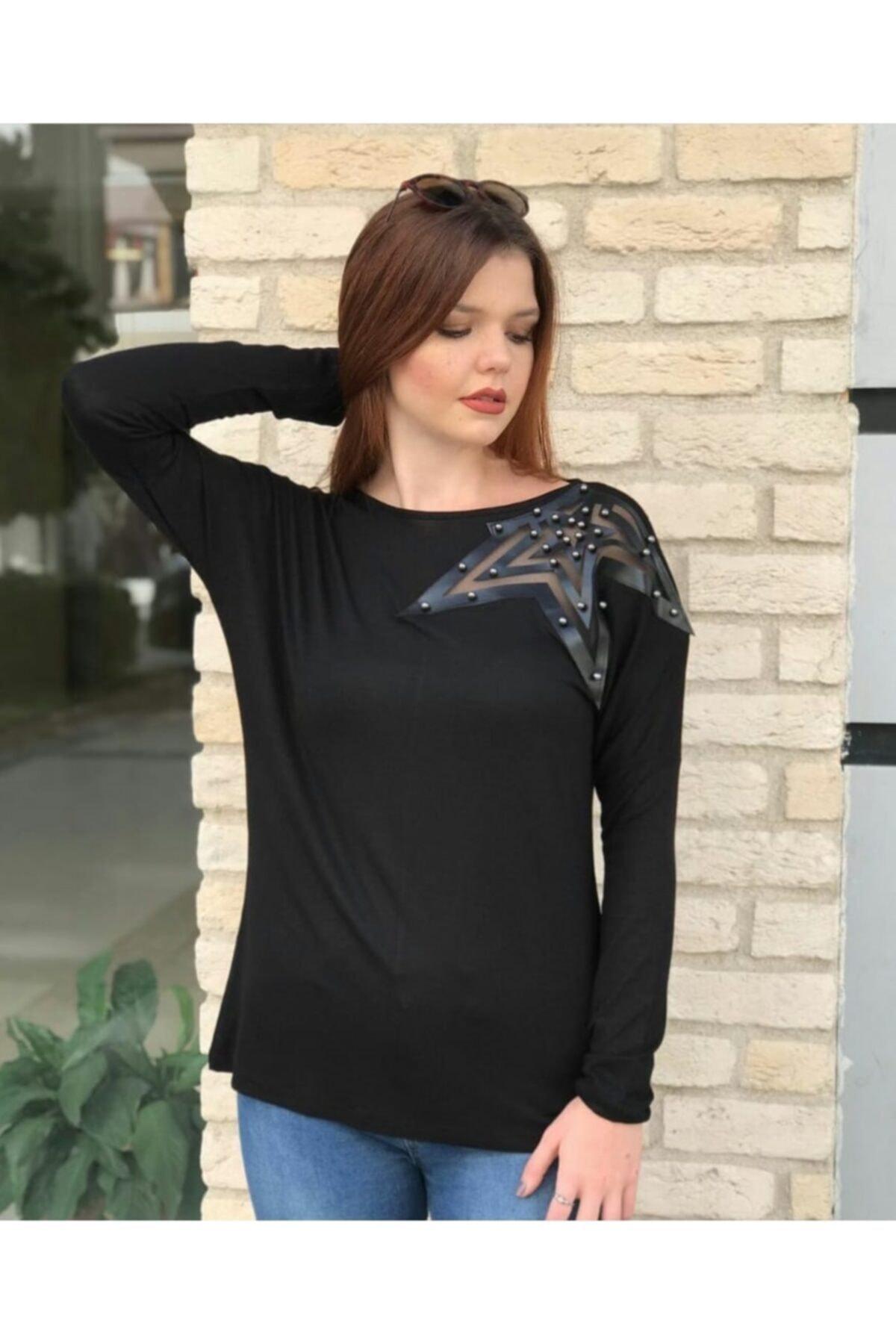 TREND Kadın Siyah Yıldız Aplikeli Bluz 1