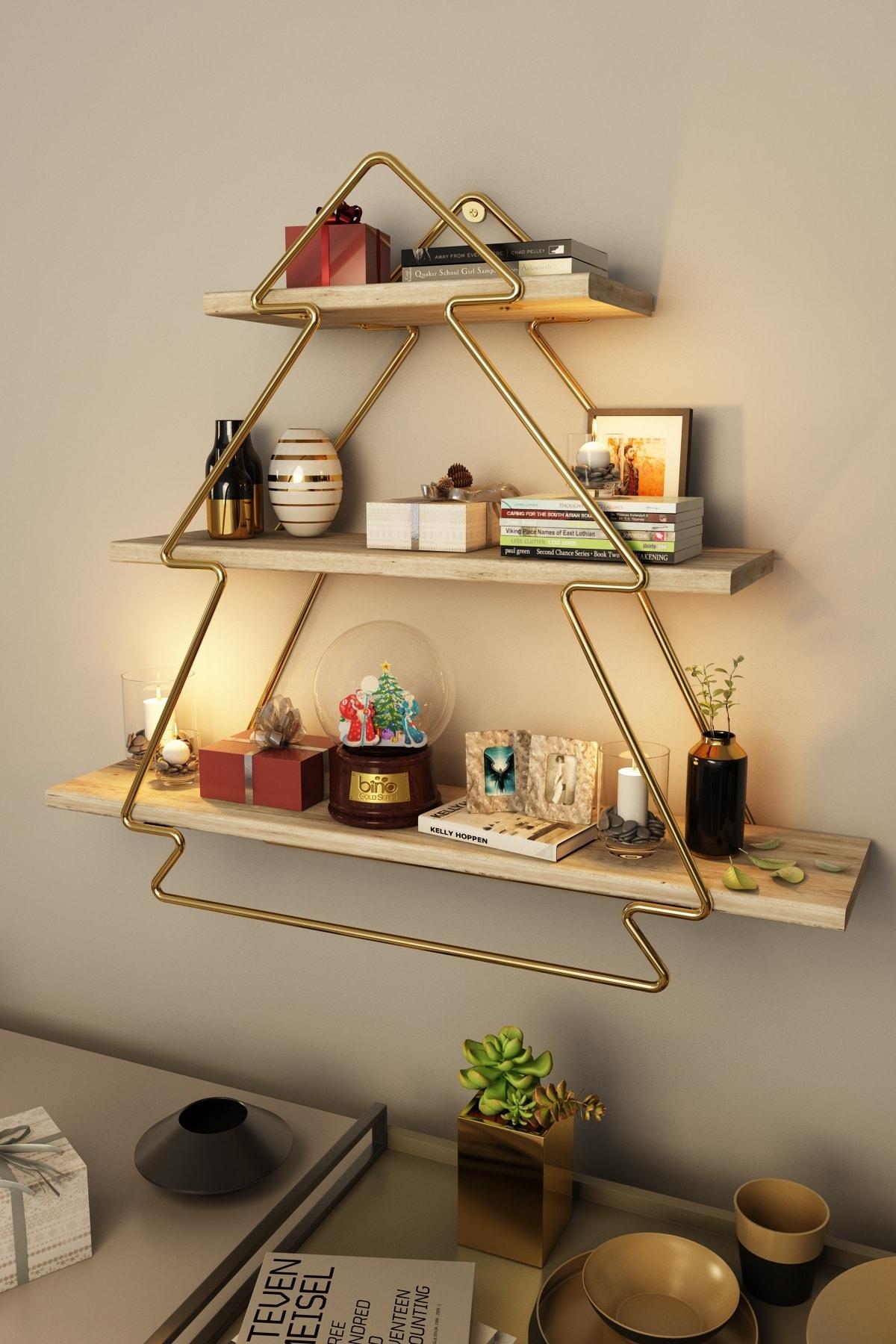 Bino Düzenleyici Organizer Mutfak Rafı Banyo Rafı Masif Salon Duvar Rafı Gold Ahşap Ağaç Modeli