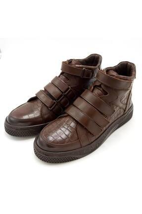 CassidoShoes Erkek Kahverengi Hakiki Deri Özel Tasarım Kroko Baskı Cırtlı Spor Bot