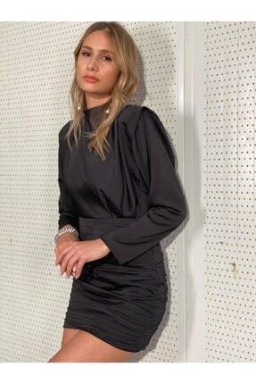Atelier Basics Siyah Saten Kısa Parti Elbisesi