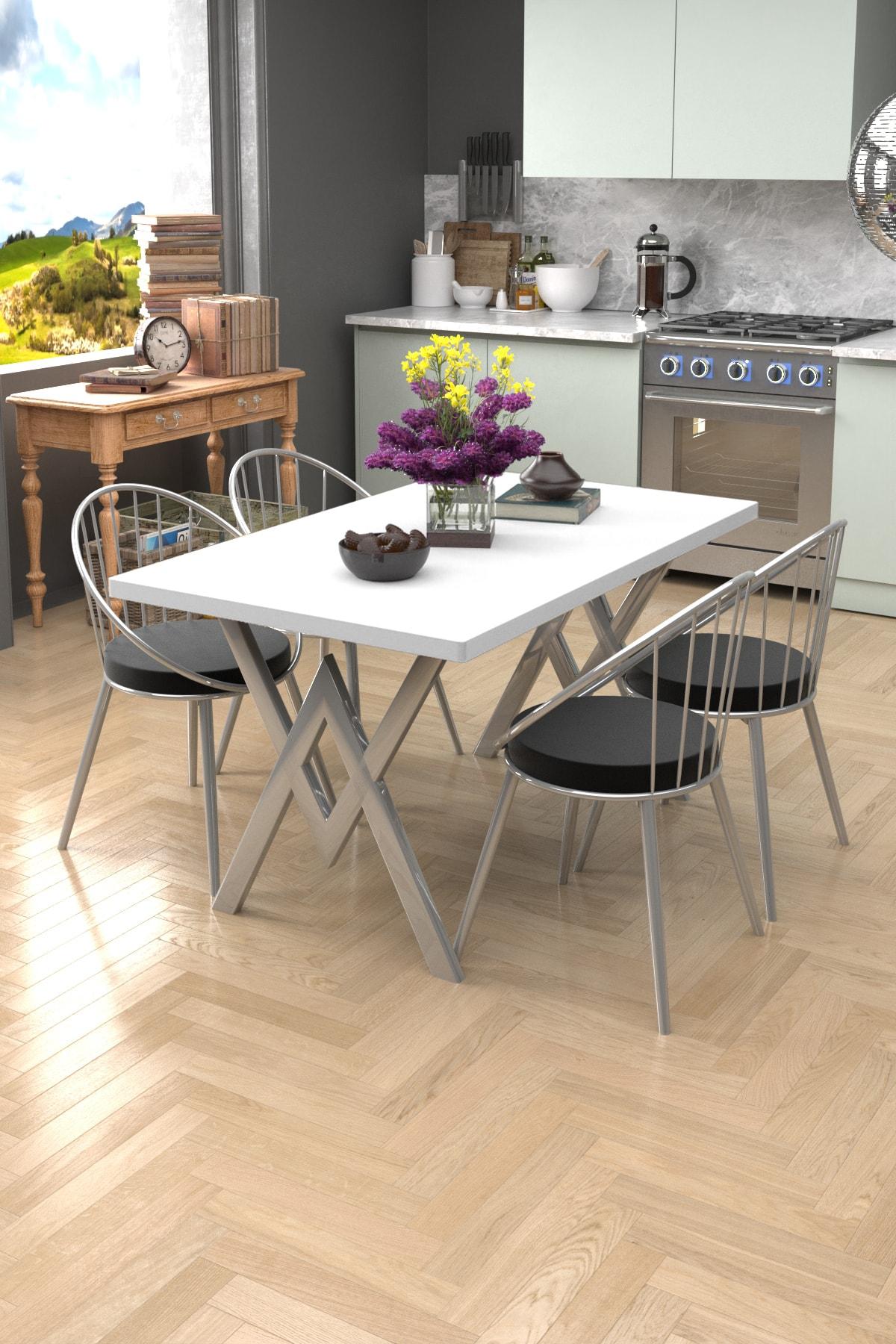 Evdemo Beyaz Siyah Eylül Silver 4 Kişilik Mutfak Masası Takımı 1