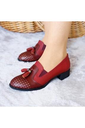 PUNTO Kadın Bordo Renk Mevsımlık Yumurta Topuklu Ayakkabı