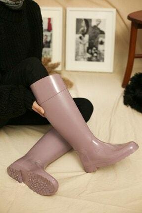 Ccway Kadın Pembe Uzun Yağmur Çizmesi