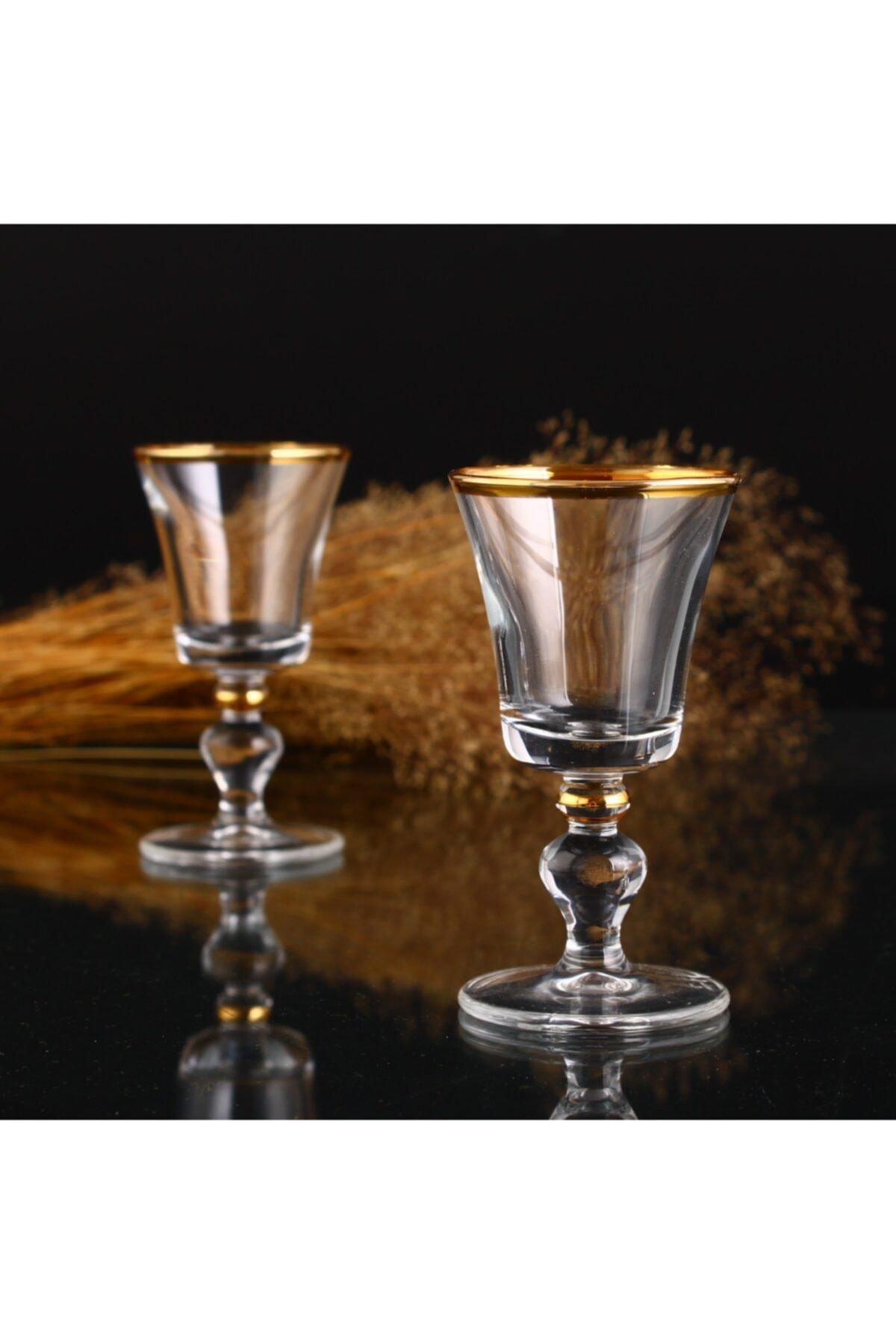 KristalGalerisi Kahve Yanı Su Bardak Takımı Ağız Cidar Altın - 6 Kişilik 1