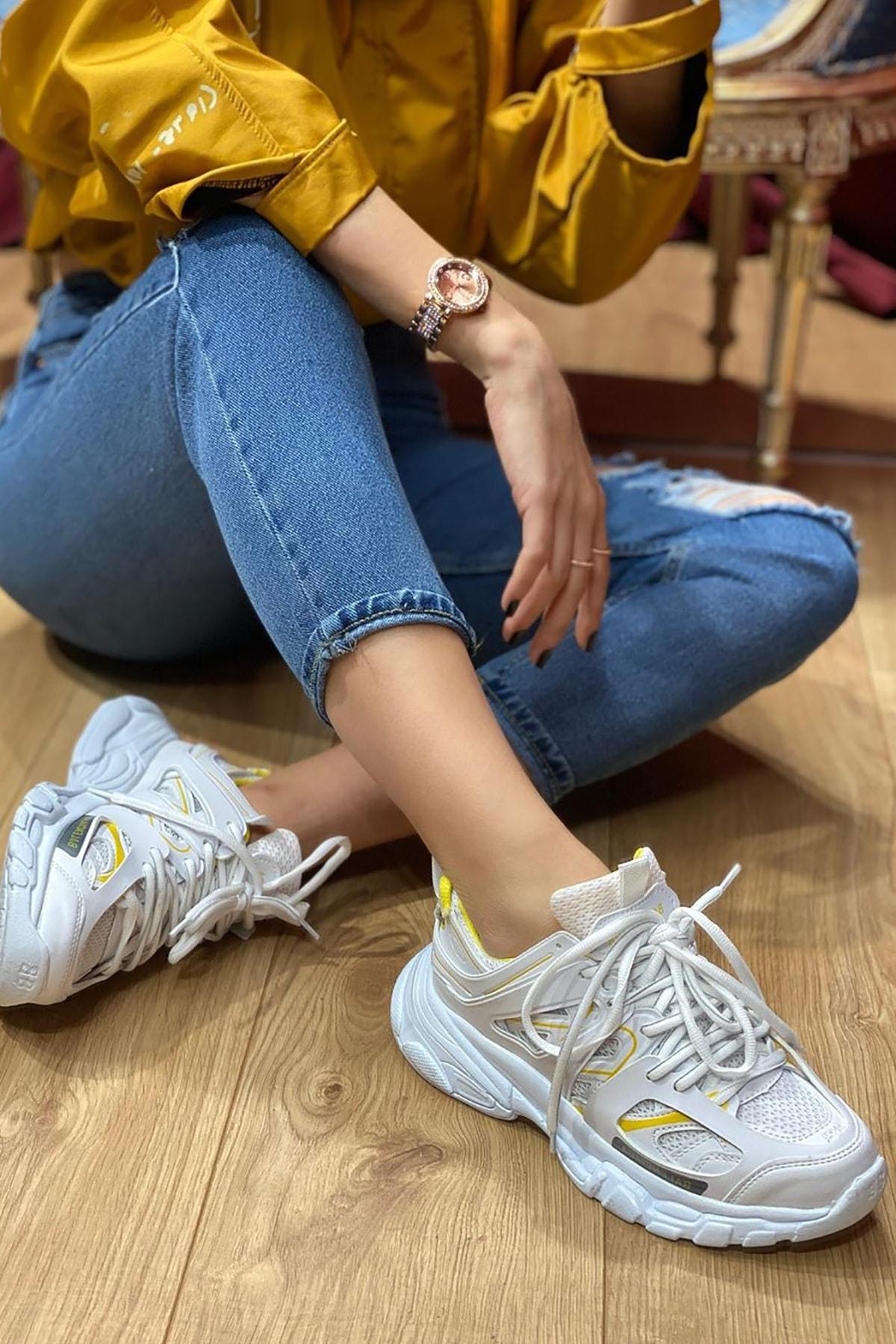 NOVELYA Beyaz Sarı Çizgili Track Yüksek Taban Unisex Sneakers Ayakkabı 2