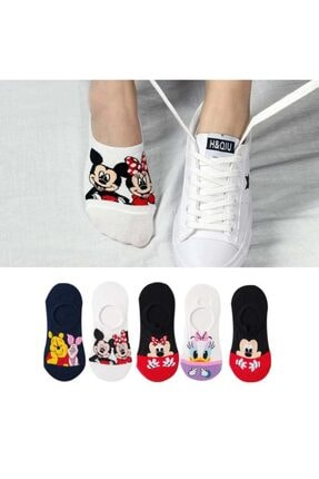 çorapmanya 5 Çift Kadın Çok Renkli Görünmez (SNEAKER) Spor Ayakkabı Çorabı