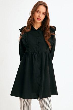 Fulla Moda Kadın Siyah Fırfır Detaylı Düğmeli Tunik
