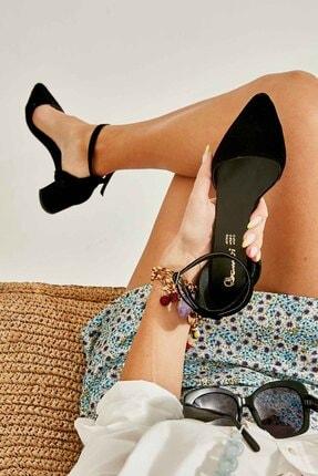 Bambi Siyah Süet Kadın Klasik Topuklu Ayakkabı K01503720072
