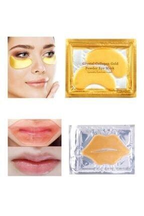 HSLN KOZMATİK Kolajen Gözaltı Altın Maskesi + Gold Collagen Dudak Maskesi Nemlendirici
