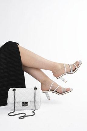 Marjin Kadın Beyaz Topuklu Terlik Diksa