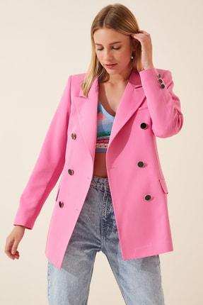 Happiness İst. Kadın Canlı Pembe Uzun Katlı Yaka Blazer Ceket DP00068