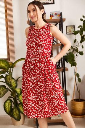 armonika Kadın Kirmizi Küçük Çiçekli Kolsuz Midi Boy Elbise ARM-21Y001011