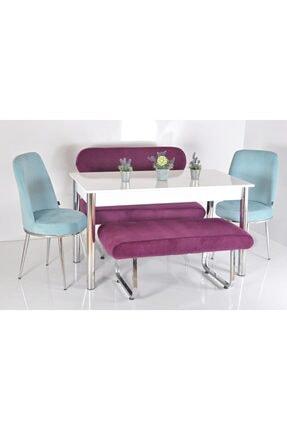 Kaktüs Avm 6 Kişilik Masa Sandalye Banklı Mutfak Masası Takımı