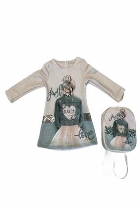 larisskids Kız Çocuk Krem Baskılı Elbise Ve Çanta