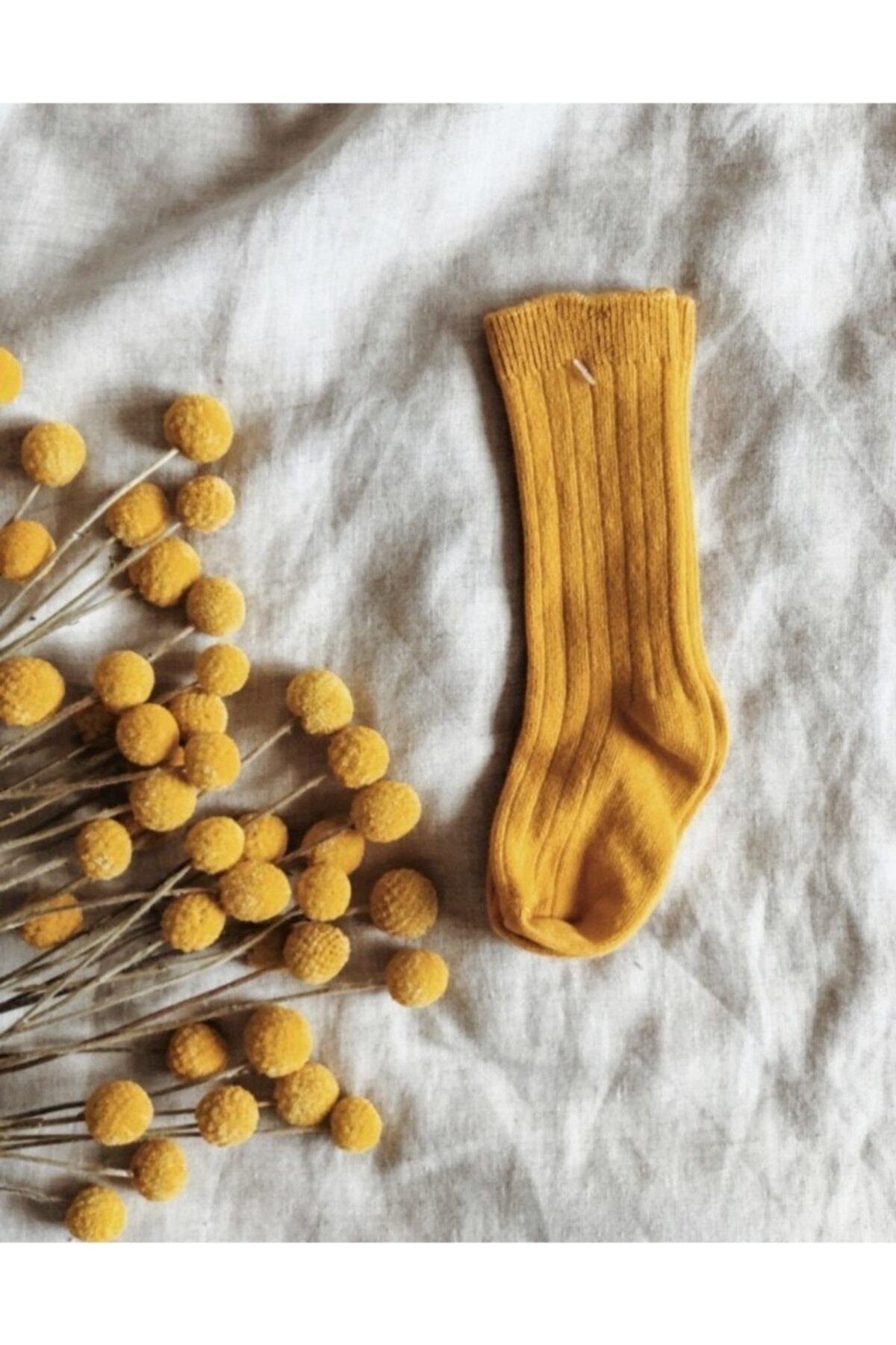 LAL Babyrompers Safran Rengi Dizaltı Bebek Çorabı 1