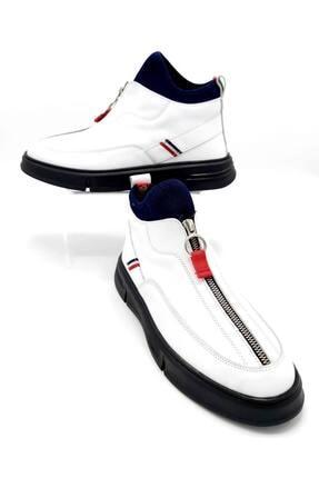 CassidoShoes Erkek Beyaz Özel Tasarım Hakiki Deri Önden Fermuarlı Spor Bot