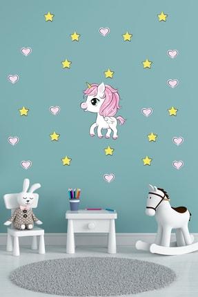 Tilki Dünyası Minik Unicorn Pembe Kalpler ve Sarı Yıldızlar Çocuk Odası Sticker