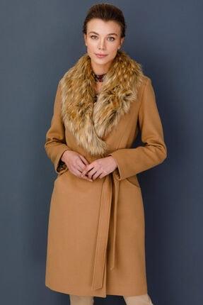 Ekol Kadın Kahverengi Yakası Kürklü Beli Kuşaklı Kaban