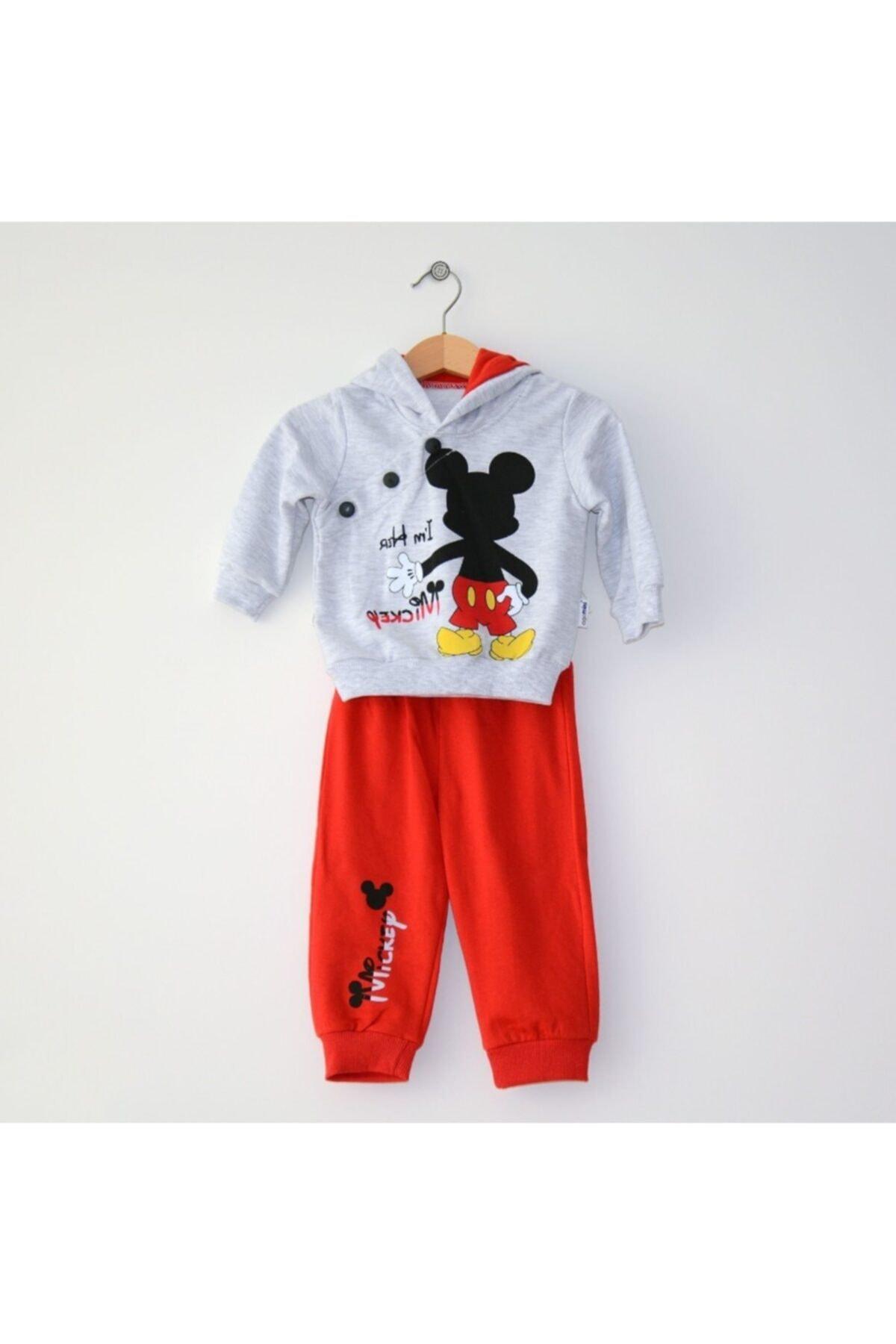 Mickey Mouse Miniya Erkek Çocuk Kapüşonlu Kırmızı Eşofman Takımı 1
